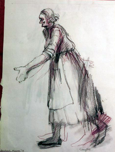"""A drawing of an old woman with an apron, copyright Rachael Romero 1973"""""""