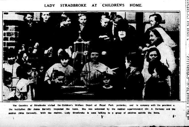 Lady Stradbroke visits a children's home