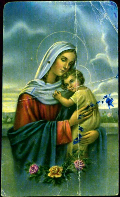 Holy card depicting Mary and Jesus