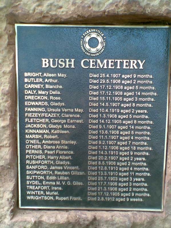 plaque with the title 'BUSH CEMETERY' and a list of names and dates of death