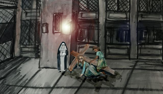 Painting of two girls with cross and nun in dark quadrangle